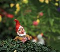 Garden dwarf or gnome small typical and american flag on a bush Stock Image