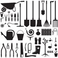 Garden equipment set of silhouette images of Royalty Free Stock Image