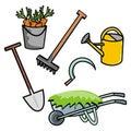 Garden equipments, set, vector icon