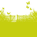 Garden fence gate and lawn green Royalty Free Stock Images