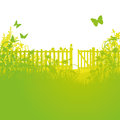 Garden fence and open gates in the Stock Photography