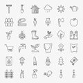 Garden Flower Line Art Design Icons Big Set Royalty Free Stock Photo