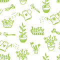 Garden flowers and tools seamless pattern cute design Royalty Free Stock Photo