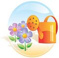 Garden, flowers, watering can. Royalty Free Stock Images