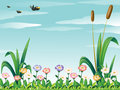 A garden with fresh flowers and the birds in the sky illustration of Royalty Free Stock Images