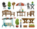 Garden furniture, tables, chairs, decorative trees