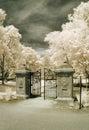 Garden Gate in Infrared Stock Photo