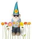 Garden Gnome Spring Flowers Su...