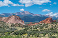 Garden of the gods red rock formations at Royalty Free Stock Image