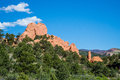 Garden of the gods rock formation colorado beautiful scenic landscape green trees and blue sky taken in national state park Royalty Free Stock Photos
