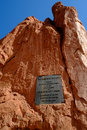 Garden of the gods sign giving to people Royalty Free Stock Image