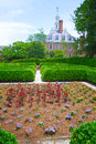 Garden and governor s mansion outside the in colonial williamsburg virginia Royalty Free Stock Images
