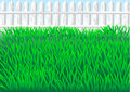 Garden grass and white fence eps Stock Photo