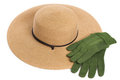 Garden hat and gloves Stock Photos