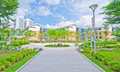 Garden within high-rise residential estate Stock Photos