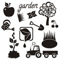 Garden icons gardening with tree apple cherry small lake watering can plants spade and tractor Royalty Free Stock Images