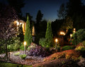 Garden illumination lights Royalty Free Stock Photo