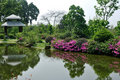 Garden with lake and gloriette Royalty Free Stock Photo