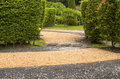 Garden landscaping in the the path in the Royalty Free Stock Photos