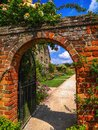 Garden lush green english on a summers day walled wall gardening back front yard country rural house estate grounds Stock Images
