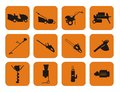 Garden machinery symbols twelve of Royalty Free Stock Photos