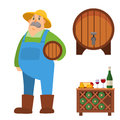 Garden man character agriculture farm harvest people organic outdoor work vector illustration