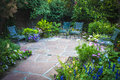 Garden nook photograph of a secluded in a large ornate Stock Photos