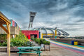 Garden at the olympic stadium french stade olympique is a multi purpose in canada located park in hochelaga Royalty Free Stock Photo