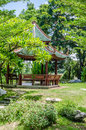 Garden the oriental pavilion of absolute perfection Royalty Free Stock Photos