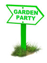 Garden party banner on clean white background and grass at the bottom Stock Photos