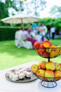 Garden party with fruit bowl in the foreground a Royalty Free Stock Images