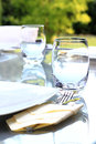 Garden party table glass prepared for a summer Royalty Free Stock Photo