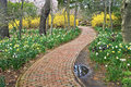 Garden path a nature pathway through spring flowers in sayen park hamilton new jersey Stock Image