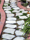Garden path of stepping stones Royalty Free Stock Photo