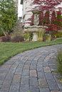 Garden Path with Water Fountain Royalty Free Stock Photography