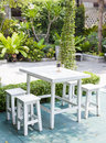Garden place with white table and chair Stock Image