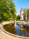 Garden pond with small statue at Orangerie of Sychrov Castle, Czech Republic Royalty Free Stock Photo