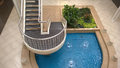 Garden pool and stairway viewed from above Stock Image