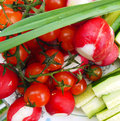 Garden radish cucumber tomato greens and Royalty Free Stock Images