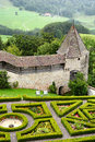 Garden and ramparts gruyeres castle switzerland july at located in the medieval town of built between it is Stock Images