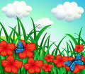 A garden with red flowers and blue butterflies Royalty Free Stock Photo