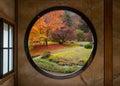 Garden Through a Round Window Royalty Free Stock Photo