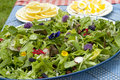 Garden salad with eatable flowers summer Royalty Free Stock Image