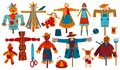 Garden scarecrows scary stuffed dolls to guard harvest with pumpkin head for Halloween isolated vector illustration set. Royalty Free Stock Photo