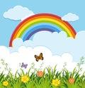 Garden scene with butterflies and rainbow