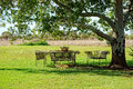 Garden seats table and chairs Royalty Free Stock Images