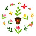 Garden seedlings. Spring set: butterflies, flowers, plants. Lettering Hello Spring. Flat design Royalty Free Stock Photo