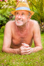 Garden senior older man enjoying his Royalty Free Stock Photo