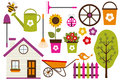 Garden set clip art elements Royalty Free Stock Photography