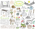 Garden set doodles elements. Hand drawn sketch with gardening tools, flovers and plants, garden figures, gnome mushrooms, rabbit, Royalty Free Stock Photo